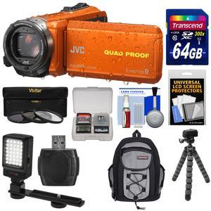 JVC Everio GZ-R440 Quad Proof Full HD Digital Video Camera Camcorder - Orange - with 64GB Card + Backpack + Flex Tripod + 3 UV-CPL-ND8 Filters + LED Video Light + Kit