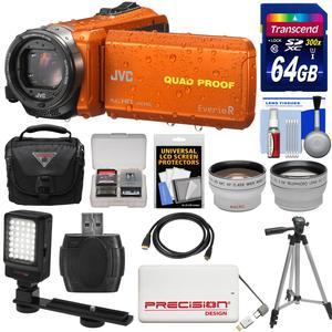 JVC Everio GZ-R440 Quad Proof Full HD Digital Video Camera Camcorder - Orange - with 64GB Card + Case + 5000mAh Power Bank + Tripod + LED Light + Tele-Wide Lenses + Kit
