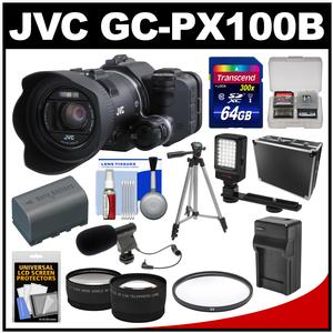 JVC GC-PX100B Procision Full HD Wi-Fi Digital Video Camera Camcorder with 64GB Card + Case + LED Light + Battery/Charger + Mic + Tripod + Tele/Wide Lens Kit