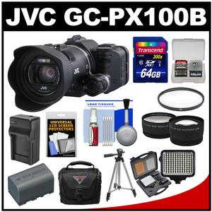 JVC GC-PX100B Procision Full HD Wi-Fi Digital Video Camera Camcorder with 64GB Card + Case + LED Light Set + Battery/Charger + Tripod + Tele/Wide Lens Kit