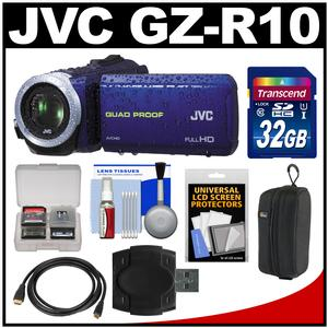 JVC Everio GZ-R10 Quad Proof Full HD Digital Video Camera Camcorder (Blue) with 32GB Card + Case + HDMI Cable + Accessory Kit
