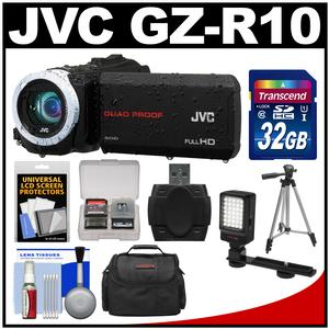 JVC Everio GZ-R10 Quad Proof Full HD Digital Video Camera Camcorder (Black) with 32GB Card + Case + LED Light + Tripod + Kit
