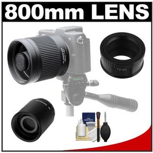Kenko 400mm f/8 Mirror Lens for Mirrorless & DSLR Cameras (T-Mount) with 2x Teleconverter (=800mm) + Cleaning Kit for Samsung NX Digital Cameras