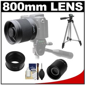 Kenko 400mm f/8 Mirror Lens for Mirrorless & DSLR Cameras (T-Mount) with 2x Teleconverter (=800mm) + Tripod + Accessory Kit for Samsung NX Digital Cameras