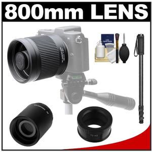Kenko 400mm f/8 Mirror Lens for Mirrorless & DSLR Cameras (T-Mount) with 2x Teleconverter (=800mm) + Monopod + Accessory Kit for Samsung NX Digital Cameras