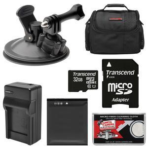 Essentials Bundle for Kodak PixPro SP360 SP360 4k and Orbit360 4K Action Camera with Car Suction Cup Mount and 32GB Card and LB-080 Battery and Charger and Case and Kit