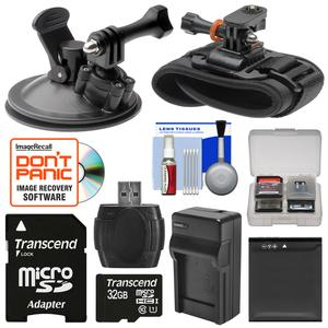 Essentials Bundle for Kodak PixPro SP360 SP360 4k and Orbit360 4K Action Camera with Car Suction Cup and Wrist Mounts and 32GB Card and LB-080 Battery and Charger and Case and Kit