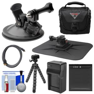Essentials Bundle for Kodak PixPro SP360 SP360 4k and Orbit360 4K Action Camera with Suction Cup and Dash Mounts and LB-080 Battery and Charger and Case and Flex Tripod and Kit