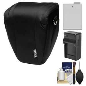 Kodak Deluxe Top-Load DSLR Camera Holster Case (Black) with LP-E8 Battery & Charger + Cleaning Kit for Rebel T3i T4i T5i