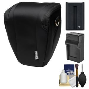 Kodak Deluxe Top-Load DSLR Camera Holster Case (Black) with NP-FM500H Battery & Charger + Cleaning Kit for Alpha DSLR SLT-A57 A58 A65 A77 II