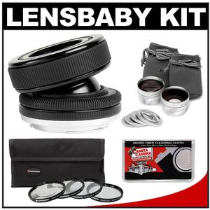 Lensbaby Composer Pro Lens with Double Glass Optic (for Nikon Cameras) with Macro Filter Set + Wide & Telephoto Lens Set + Microfiber Cleaning Cloth