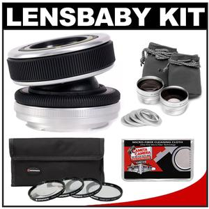 Lensbaby Composer Lens with Double Glass Optic (for Canon EOS Cameras) with Macro Filter Set + Wide & Telephoto Lens Set + Microfiber Cleaning Cloth