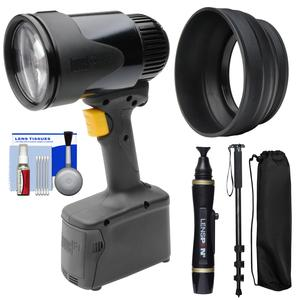 Lowel GL-1 Power LED Focusing Light with Rubber Lens Shade and Lenspen and Monopod Kit