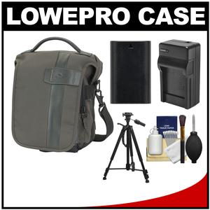 Lowepro Classified 140 AW Digital SLR Camera Bag/Case (Sepia) with LP-E6 Battery & Charger + Tripod for Canon EOS 6D 7D 70D 5D Mark II III
