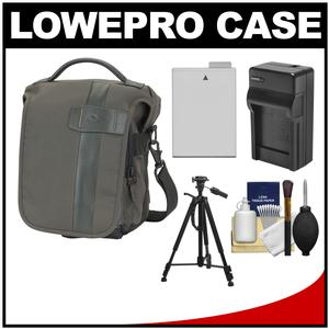 Lowepro Classified 140 AW Digital SLR Camera Bag/Case (Sepia) with LP-E8 Battery & Charger + Tripod + Accessory Kit for Canon Rebel T3i T4i T5i