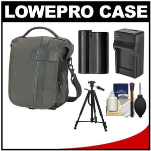 Lowepro Classified 140 AW Digital SLR Camera Bag/Case (Sepia) with EN-EL15 Battery & Charger + Tripod + Accessory Kit for D7000 D7100 D600 D800