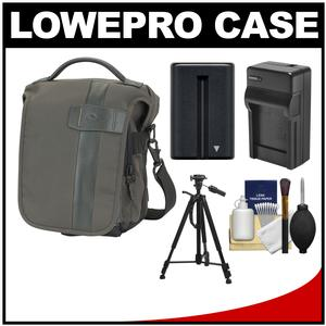 Lowepro Classified 140 AW Digital SLR Camera Bag/Case (Sepia) with NP-FM500H Battery & Charger + Tripod for Sony Alpha DSLR SLT-A57 A58 A65 A77 A99
