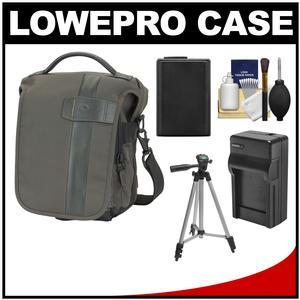 Lowepro Classified 140 AW Digital SLR Camera Bag/Case (Sepia) with NP-FW50 Battery & Charger + Tripod for A7 A7R A3000 NEX-F3 NEX-5R NEX-6 NEX-7