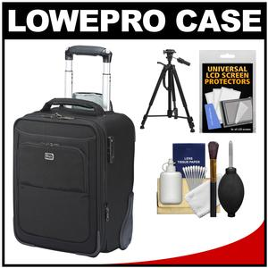 Lowepro Pro Roller x100 AW Digital SLR Camera Bag/Backpack Case with Wheels (Black) with Tripod + Accessory Kit