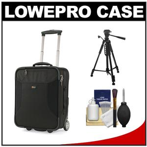 Lowepro Pro Roller Lite 150 AW Digital SLR Camera Case with Wheels (Black) with Tripod + Cleaning Kit