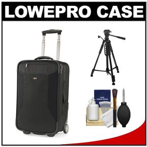 Lowepro Pro Roller Lite 250 AW Digital SLR Camera Case with Wheels (Black) with Tripod + Cleaning Kit