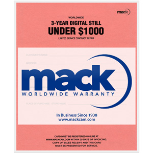 Mack +3 YR Digital Camera Extended Warranty - $500-1000 Retail - -1057-