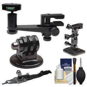 Makaw Video Perch Camera Mount Clamp with Ballhead and Quick Release with Tripod Adapter and Curved Helmet and Arm Mounts and Kit for GoPro Hero 3 and 4 Action Camera