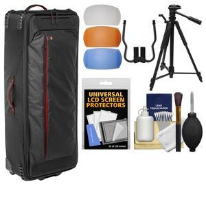 Manfrotto Pro Light LW-99 PL Rolling Organizer Case with 58 inch Tripod and DSLR Diffusers and Cleaning Kit