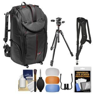 Manfrotto Pro Light Pro-V-610 PL DSLR Video Camera Backpack and 290 Xtra 67.5 inch Professional Tripod with 3-Way Head + Sling Strap + Kit