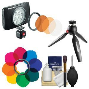 Manfrotto Lumimuse 8 On-Camera LED Video Light with Multicolor Filter Kit + Tripod + Cleaning Kit