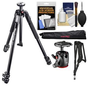 Manfrotto 190X 3-Section Aluminum Tripod and XPRO Ball Head with Case and Sling Strap and Kit