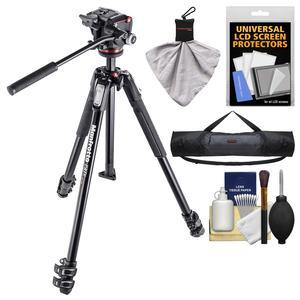 Manfrotto 190X 67 inch 3-Section Aluminum Video Tripod and MHXPRO-2W Fluid Head with Case and Kit