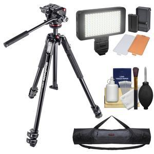 Manfrotto 190X 67 inch 3-Section Aluminum Video Tripod and MHXPRO-2W Fluid Head with Case and LED Light Set and Kit