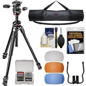 Manfrotto 290 Dual 69 inch Professional Tripod with 3-Way Head Kit with Case + Diffusers + DSLR Cleaning Kit