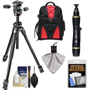 Manfrotto 290 Dual 69 inch Professional Tripod with 3-Way Head Kit with Backpack and DSLR Cleaning Kit