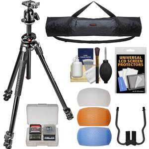 Manfrotto 290 Dual 68 inch Professional Tripod with Ball Head Kit with Case + Diffusers + DSLR Cleaning Kit