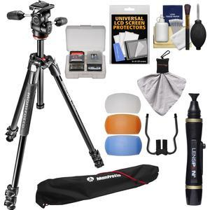 Manfrotto 290 Xtra 67.5 inch Professional Tripod with 3-Way Head and Case Kit with Flash Diffusers and DSLR Cleaning Kit
