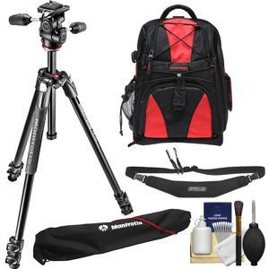 Manfrotto 290 Xtra 67.5 inch Professional Tripod with 3-Way Head and Case Kit with Backpack + Camera Strap and DSLR Cleaning Kit