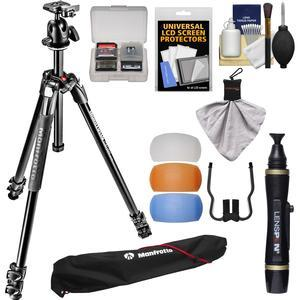 Manfrotto 290 Xtra 67 inch Professional Tripod with Ball Head and Case Kit with Flash Diffusers and DSLR Cleaning Kit