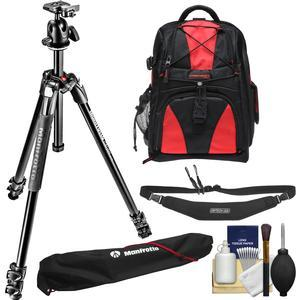 Manfrotto 290 Xtra 67 inch Professional Tripod with Ball Head and Case Kit with Backpack + Camera Strap and DSLR Cleaning Kit