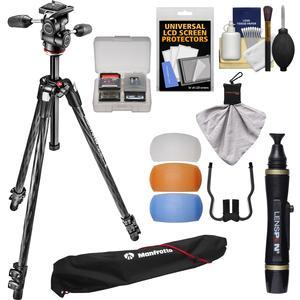 Manfrotto 290 Xtra 70 inch Carbon Professional Tripod with 3-Way Head and Case Kit with Flash Diffusers and DSLR Cleaning Kit