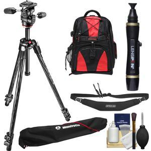 Manfrotto 290 Xtra 70 inch Carbon Professional Tripod with 3-Way Head and Case Kit with Backpack + Camera Strap and DSLR Cleaning Kit