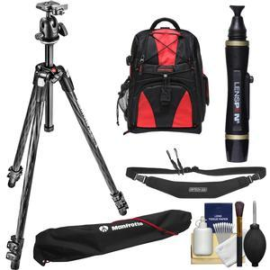 Manfrotto 290 Xtra 70 inch Carbon Professional Tripod with Ball Head and Case Kit with Backpack + Camera Strap and DSLR Cleaning Kit