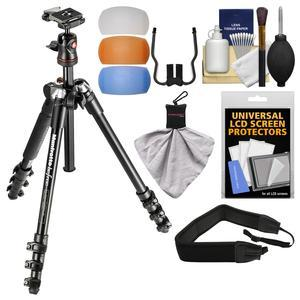 Manfrotto BeFree 56.7 inch Compact Tripod with Ball Head and Case - Black - with Diffuser Filter Set + Strap + Kit