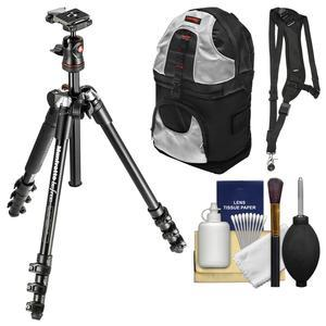 Manfrotto BeFree 56.7 inch Compact Tripod with Ball Head and Case - Black - with Backpack + Sling Strap + Kit