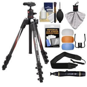 Manfrotto BeFree 55.9 inch Carbon Fiber Tripod with Ball Head and Case with Diffuser Filter Set + Strap + Kit