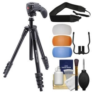 Manfrotto 61 inch Compact Action Aluminum Tripod and Joystick Head and Case - Black - with Strap + Diffuser Filter Set + Kit