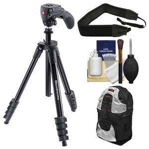 Manfrotto 61 inch Compact Action Aluminum Tripod and Joystick Head and Case - Black - with Backpack + Strap + Kit
