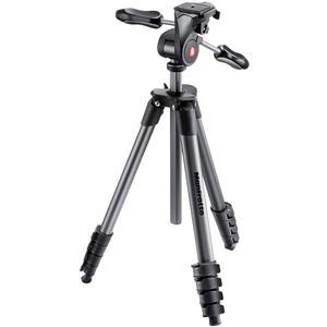 Manfrotto 65 inch Compact Advanced Aluminum Tripod and 3-Way Head with Case - Black -