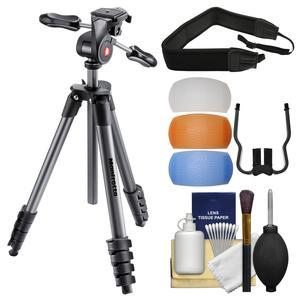 Manfrotto 65 inch Compact Advanced Aluminum Tripod and 3-Way Head with Case - Black - with Strap + Diffuser Filter Set + Kit